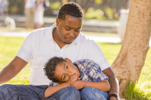African American Father Worried About His Mixed Race Son as They